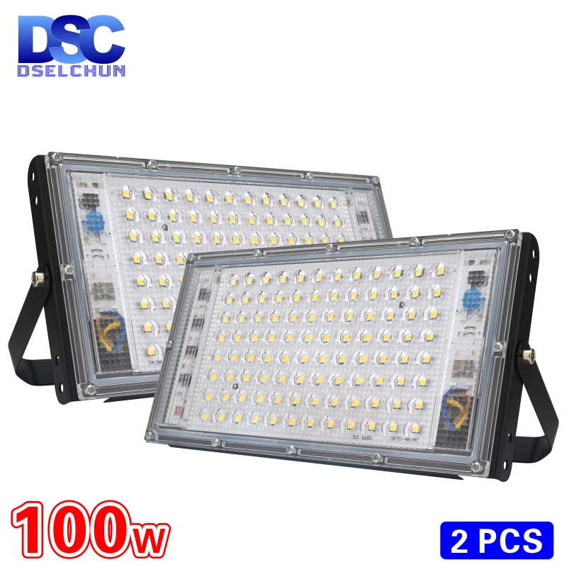 2pcs lot 100W Led Flood Light AC 220V 230V 240V Outdoor Floodlight Spotlight IP65 Waterproof LED Street Lamp Landscape Lighting