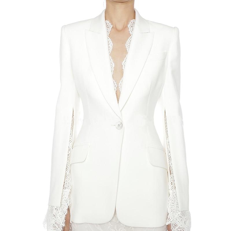 HIGH QUALITY 2020 Newest Designer Blazer Women's Slit Sleeve Lace Embellished Single Button Blazer Jacket