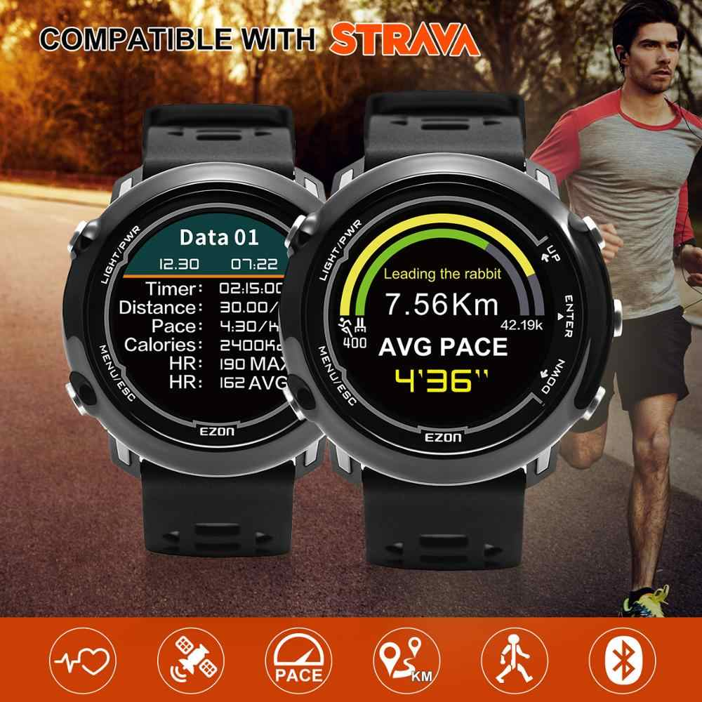 Smart GPS Running Sports Watch with color display and wrist-based heart rate outdoor 5ATM Waterproof EZON E2