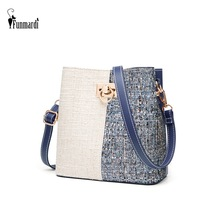 FUNMARDI Fashion Panelled Women Bucket Bag Winter Woolen Shoulder Bag