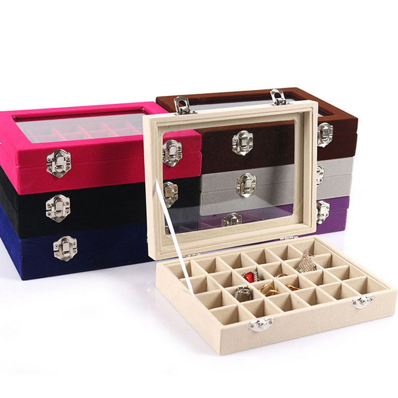 Velvet Glass Jewelry Display Box 20*15*4.5cm Jewelry Tray Holder Casket Storage Organizer 2017 Earrings Ring Box