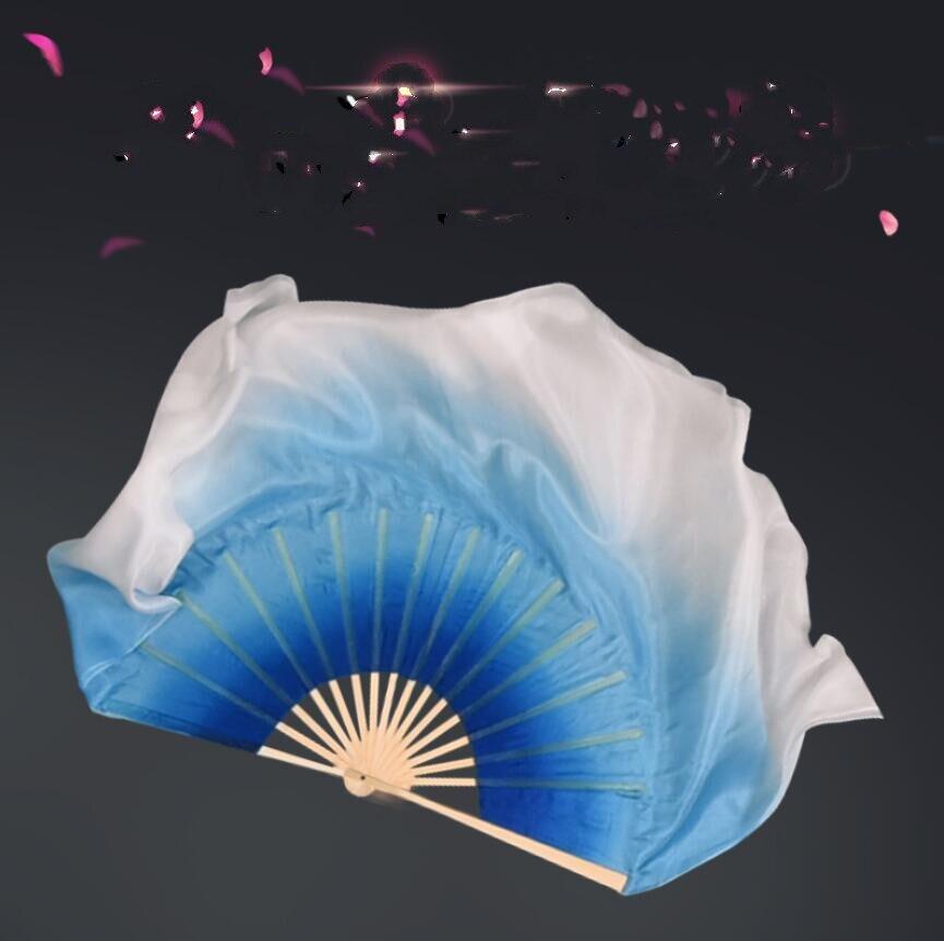 Danza del ventre Veli Di Seta Donne Stage Mostra Oggetti di Scena Cinese Tradizionale Ventilatore di Ballo di Coppia Fatti A Mano Reale di Seta Su Misura di Colore Blu Bianco