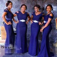 Mrs win Bridesmaid Dresses Mermaid V-neck Elegant Wedding Guest Dress For Women Plus Size Long Vestido Madrinha 2020 HR080