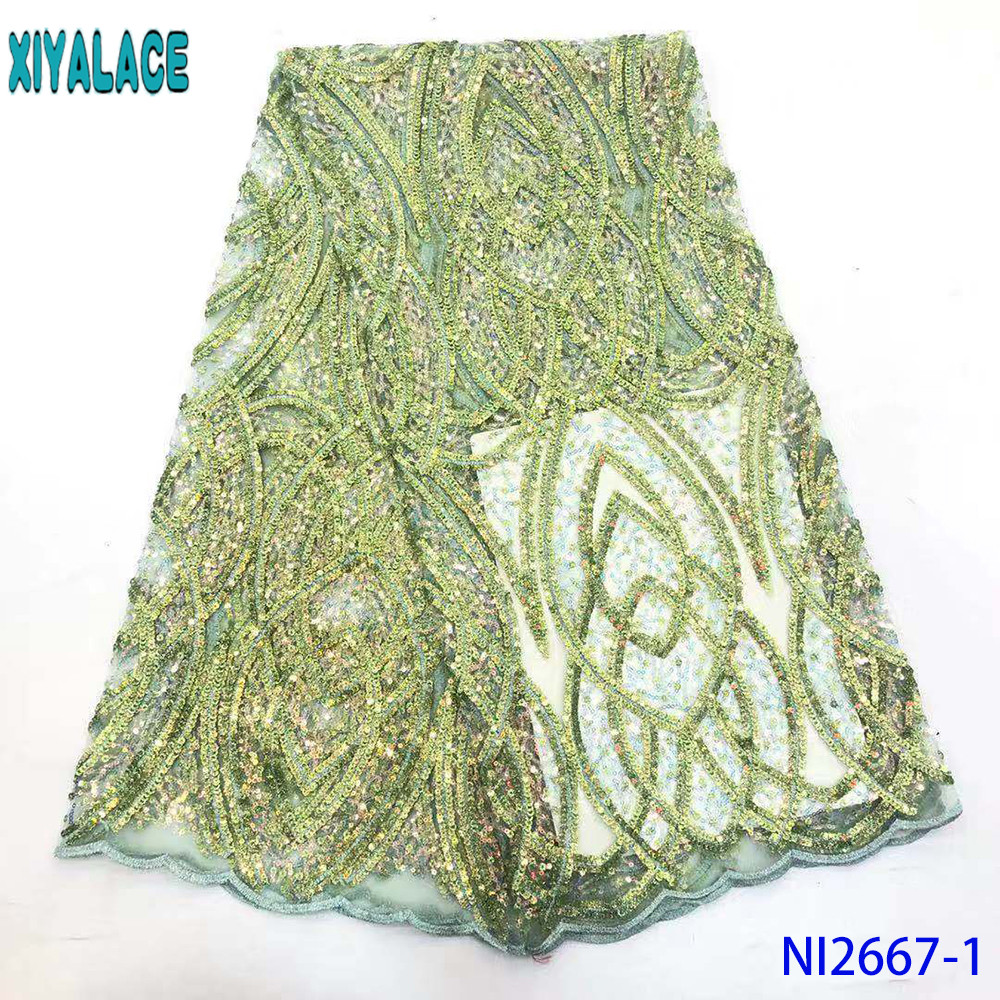 Exclusive French Lace Fabric Korea Fashion African Lace Fabric High Quality Laces With Colorful Shiny Sequins KSNI2667