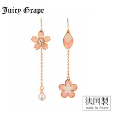 Juicy Grape 2019 New Fahsion Enamel Glaze Cherry Blossom Earrings Long Flower Earrings Women(China)