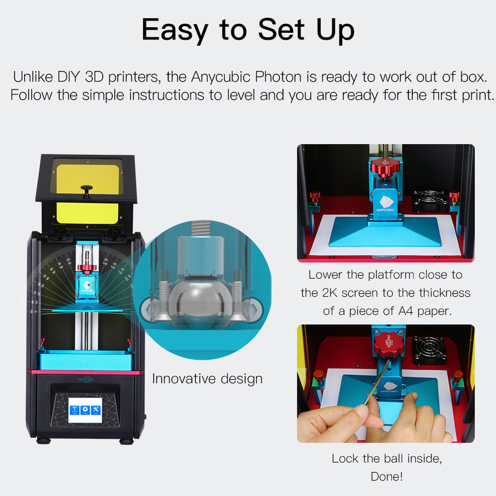 ANYCUBIC Photon LCD Based SLA 3D Printer for with Touchpad for High precision Printing 3