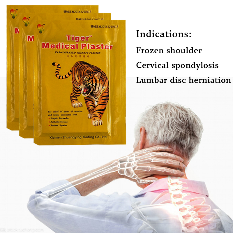 Tiger Plaster Neck Pain Relief Patch 96 Pieces=12 Bags Hot Capsicum Plaster Medical Joint Arthritic Leg Pain Relieving Plaster