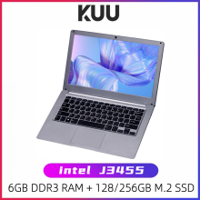 KUU 13.3 inch Student Laptop 6GB RAM 256GB SSD Notebook For intel J3455 Quad Core Ultrabook With Webcam Bluetooth WiFi Office