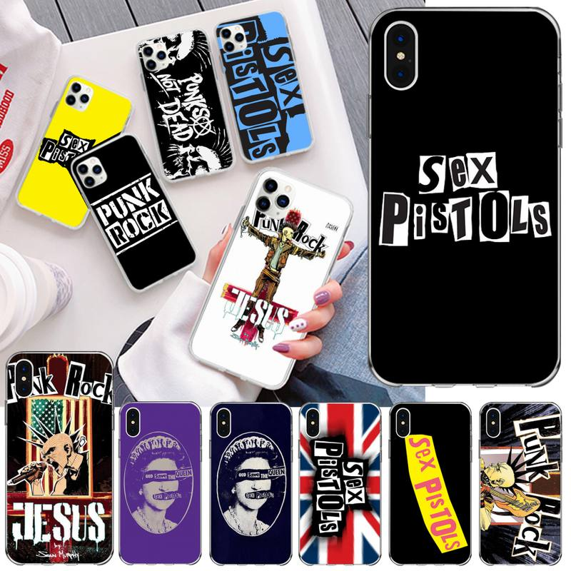 HPCHCJHM Punk rock <font><b>Sex</b></font> Pistols Newly Arrived Black Cell Phone <font><b>Case</b></font> for <font><b>iPhone</b></font> 11 pro XS MAX 8 <font><b>7</b></font> 6 6S <font><b>Plus</b></font> X 5S SE 2020 XR cover image