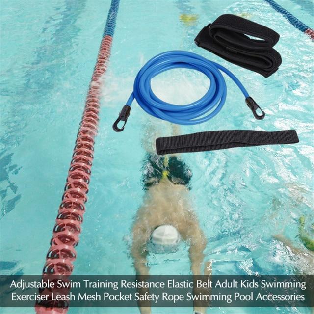 4/3 M réglable natation entraînement résistance ceinture élastique adultes enfants natation exercice laisse sécurité corde piscine accessoires