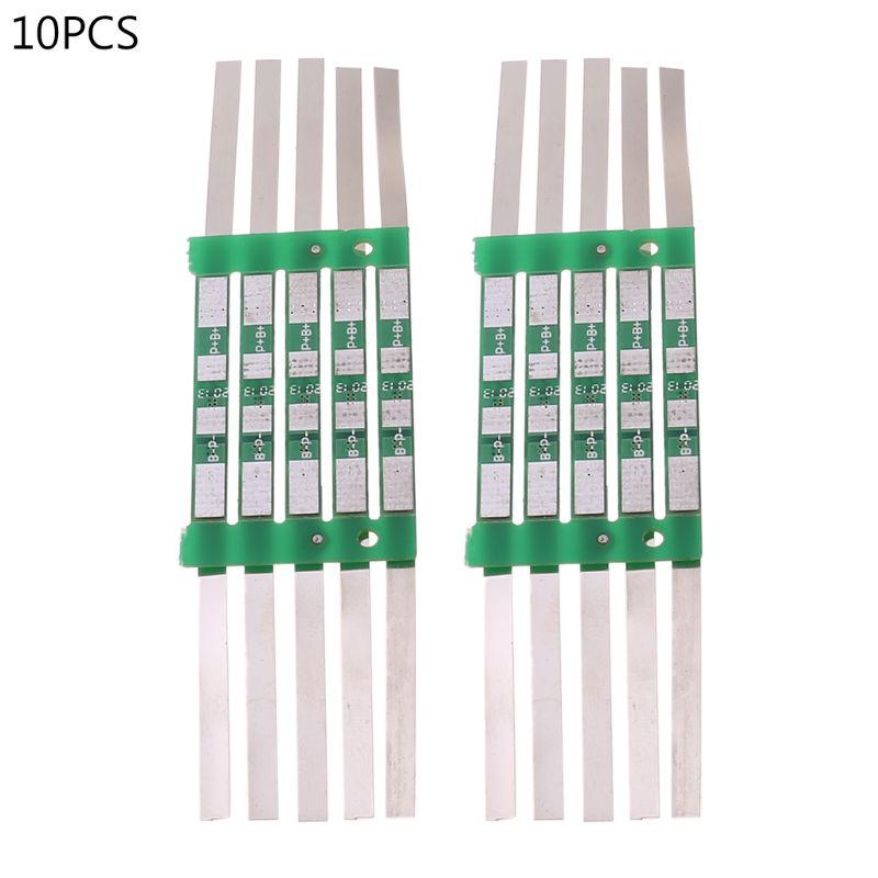 10pcs/set 3.7V 3A BMS Protection Board for 1S 18650 Lithium Battery Over Charge Protective Plat Cell Kit with Solder Belt