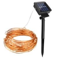 Novo energia solar led string fio de cobre fadas luzes 100 leds ao ar livre feriado natal iluminação wed jardim festa decoração garla|Fios de iluminação| |  -