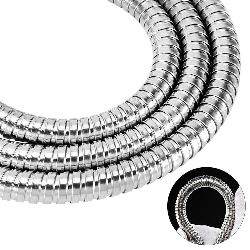 1 5m Stainless Steel Silver Encryption Explosion proof Hose with Flexible Water Pipe Pumbing Hoses for Bathroom in Shower Heads from Home Improvement