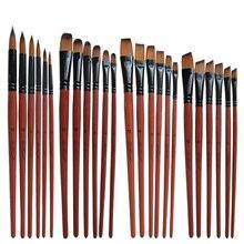Brown Paint-Brush Oil-Painting Acrylic Artist Craft Drawing-Pens Watercolor Nylon 6pcs/Set