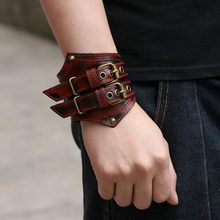 New Steampunk Wide Leather Bracelets for Men Rock Punk Men Genuine Leather Bracelet Cuff Bangle Black Brown Jewellery(China)