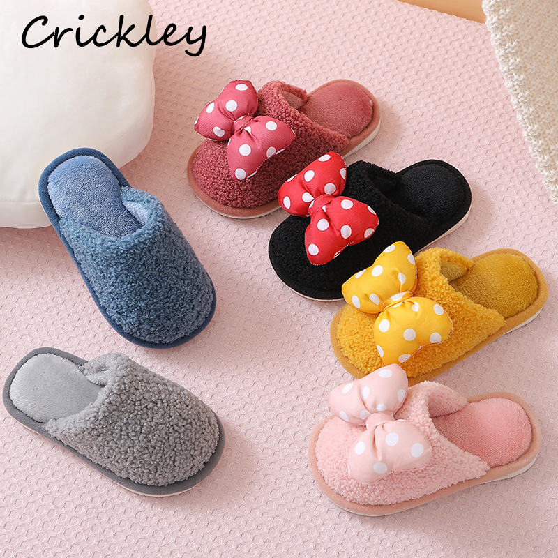 Kids Slippers Winter Coral Velvet Cute Bow Dot Indoor Shoes For Baby Girls Boys Keep Warm Home Slipper Non Slip Soft Slippers