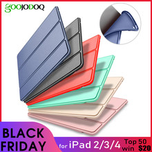 Funda para iPad 2/3/4 funda de silicona suave trasera Folio soporte con Auto Sleep/Wake Up PU funda inteligente de cuero para iPad 3 4 2 funda(China)