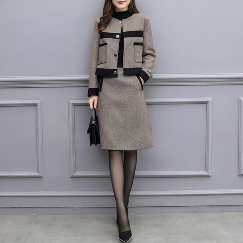 Vintage Tracksuits Woolen Outfits Pockets Women Short Coat High Waist Skirt Set Two Piece Set Female Suits Sets Clothes