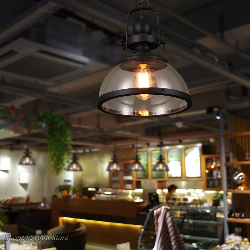 Лофт винтажные железные подвесные светильники промышленный Декор Подвесная лампа для столовой кухни дома осветительные приборы стеклянны... - 2
