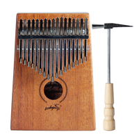 YUEKO Y12M Mahogany Tone Wood Kalimba Professional 17 Keys Acoustic Finger Thumb Piano Music Gift Ocean Blue Natural