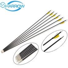 6pcs High Quality Composite carbon fiber shaft 341 Spine 1000 Archery 6MM Training Carbon Arrows 2inch Natural turkey feathers