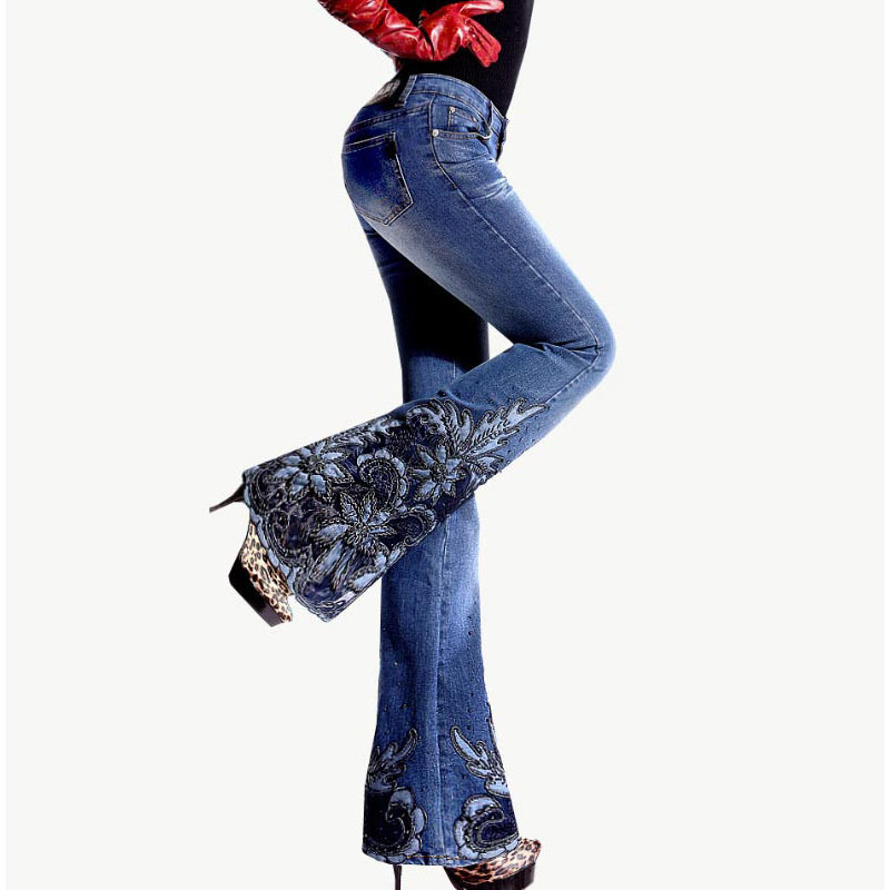 Spring Luxury Beading Embroidered Mid Waist Big Flared Jeans Female Boot Cut Embroidery Lace Bell Bottom Jeans Denim Trousers