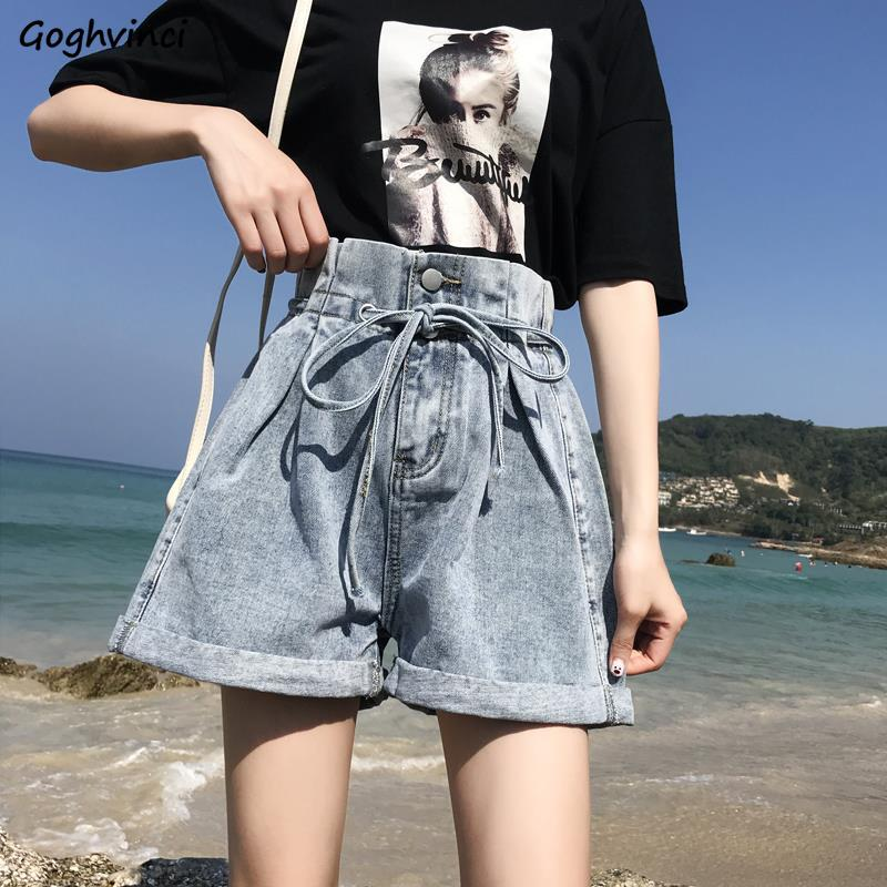 Shorts Women Summer Denim Cuffs Drawstring A-line Wide-leg 2XL Loose Womens Buttons Solid All-match Ulzzang Harajuku Trendy Chic