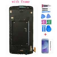 Cep telefonları ve Telekomünikasyon Ürünleri'ten Cep Telefonu LCD'leri'de Orijinal LG K8 LTE K350 K350N K350E K350DS lcd ekran ile dokunmatik ekranlı sayısallaştırıcı grup çerçeve ücretsiz kargo ile