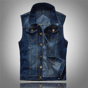 Denim Vest Coats Fashion-Hole Blue Outerwear Summer-Style Men's Slim 5xl 6xl for Big-Size