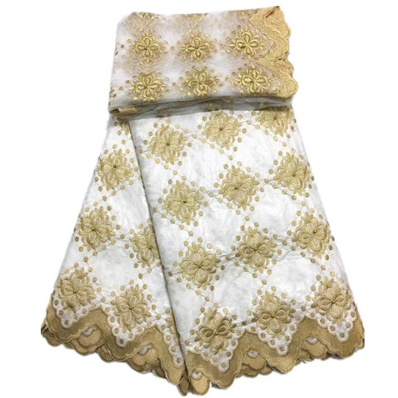Tessuto africano Bazin riche tessuto tissu africain cotone ricamato Bazin riche con tulle pizzo set tessuto africano del merletto