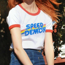 Tumblr vintage speed demon gráfico tshirt plus size 70s 80s t manga curta gola vermelha design harajuku mulher hipster t camisa