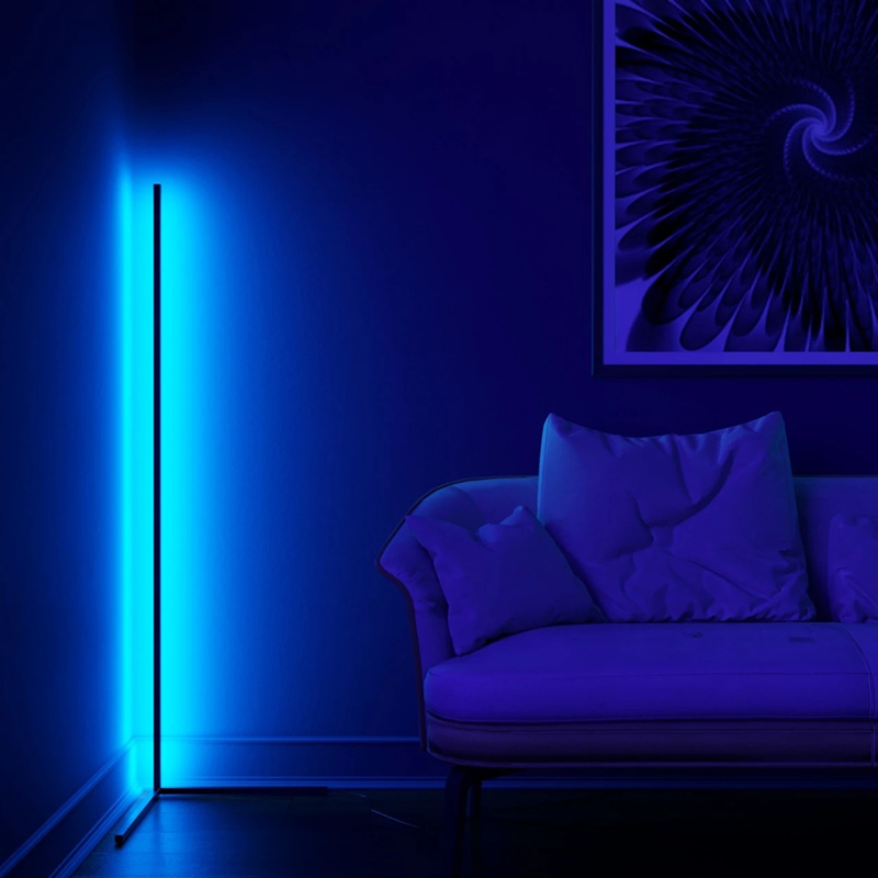 Modern RGB LED Corner Floor Lamp Bedroom Decoration Atmosphere Lamp Bedroom Living Room Colorful Indoor Club Standing Lighting