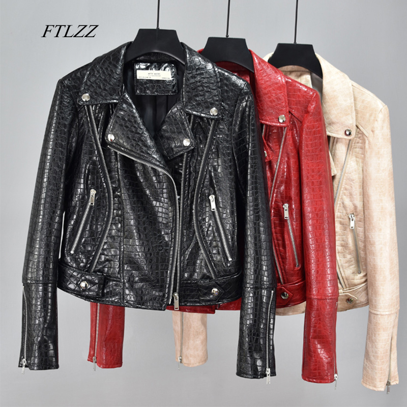 FTLZZ Autumn Women Faux Soft Leather Basic Jackets Pu Motorcycle Rivet Zipper Bright Skin Coat Street Black Red Punk Outerwear