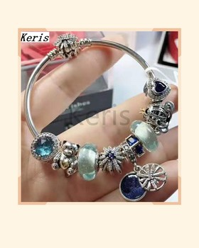 High Quality Replica 1:1 100%925 Sterling Silver 2019 New Glazed Bear Pumpkin Cart Pattern Chain Bracelet Free Delivery