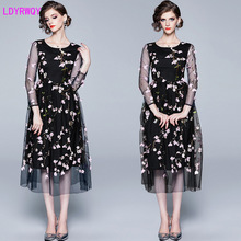 2019 autumn new high-end temperament net sleeves slim and cute mesh  heavy embroidery flower dress