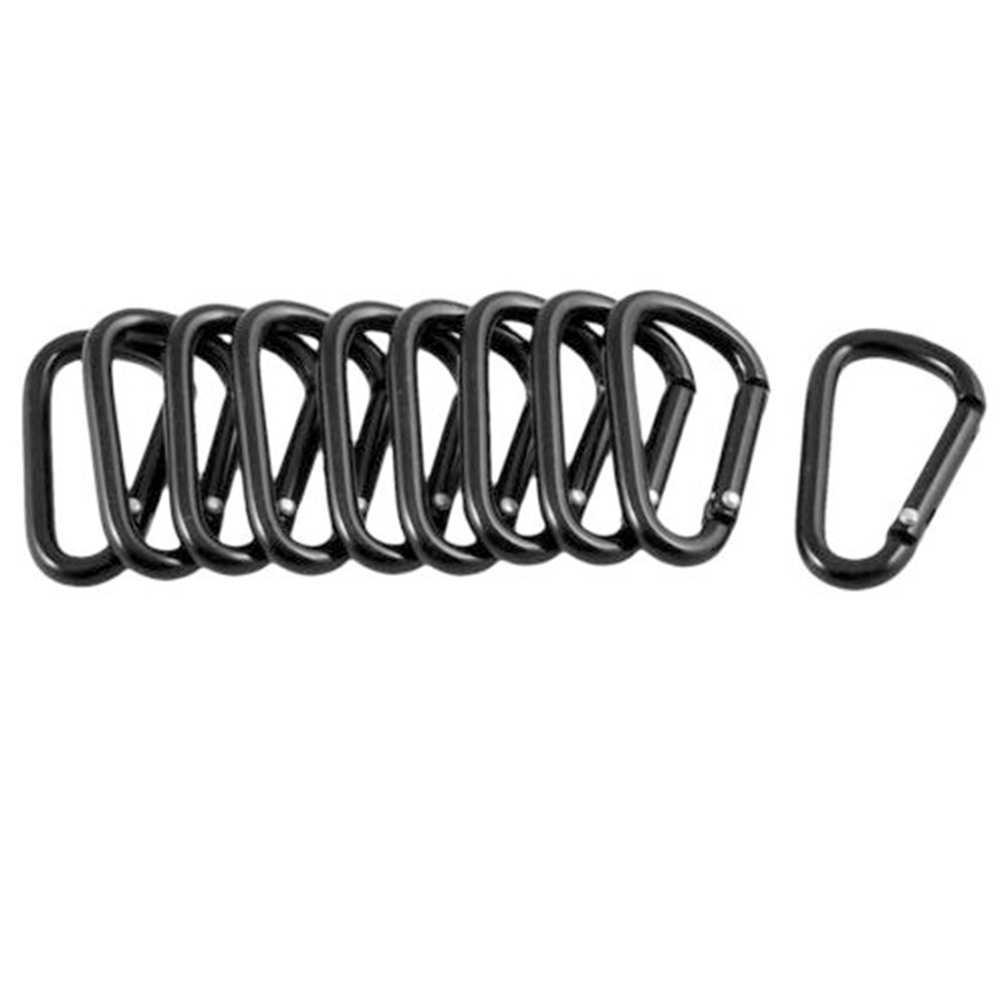 1/5/10 sztuk czarny Premium karabińczyk aluminiowy d-ring breloczek z klipsem wspinaczka Camping piesze wycieczki brelok haczyki na zatrzaski zestaw podróżny na zewnątrz