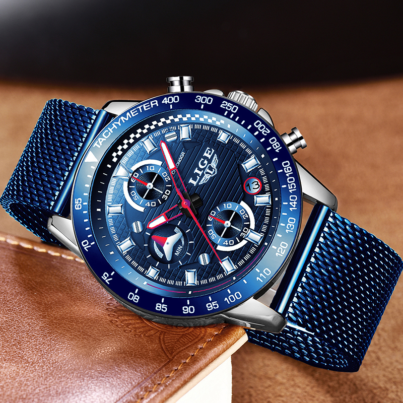 Watches Men's Full Steel Sport Quartz Watch Top Luxury Brand <font><b>Lige</b></font> Chronograph Waterproof Clock Blue Casual Fashion Reloj Hombre image