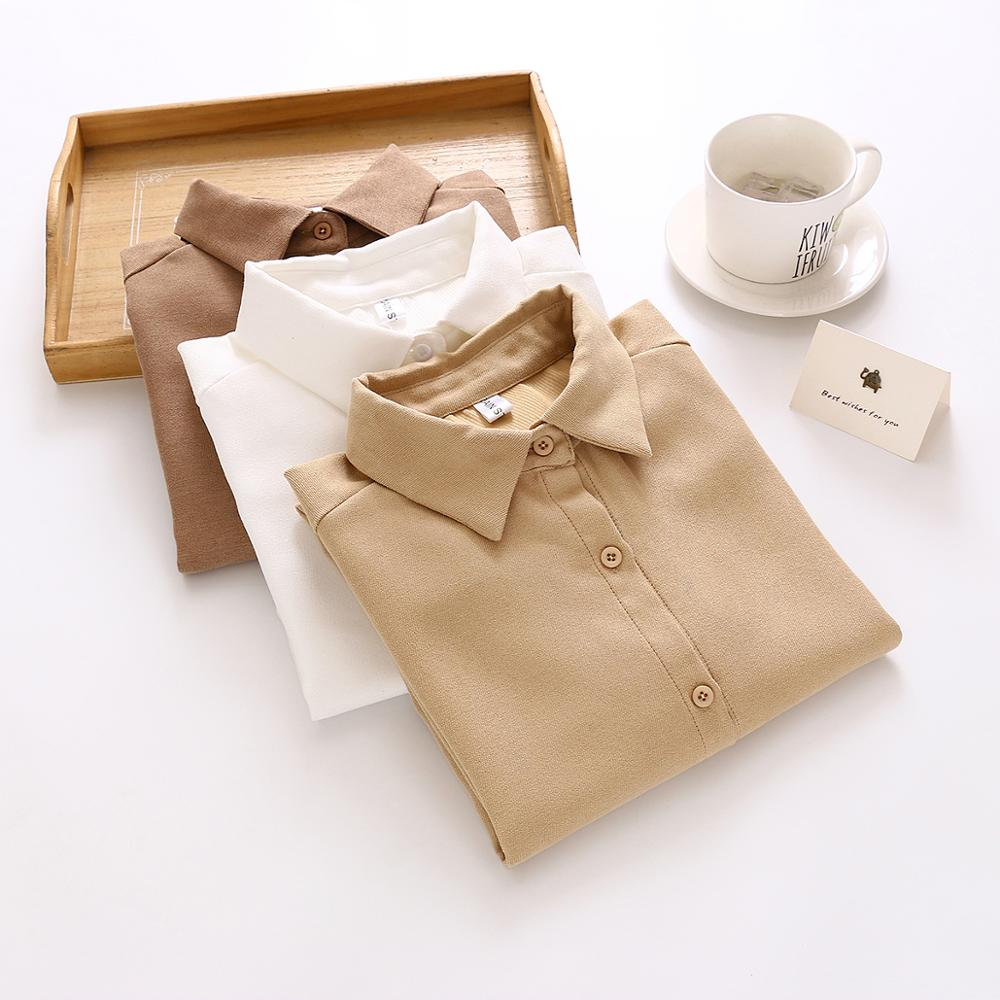 New Women Solid Corduroy Turn-Down Collar White Shirt Button Up Office Lady Korean Style Khaki  Blouse Feminina Blusa T9D607T
