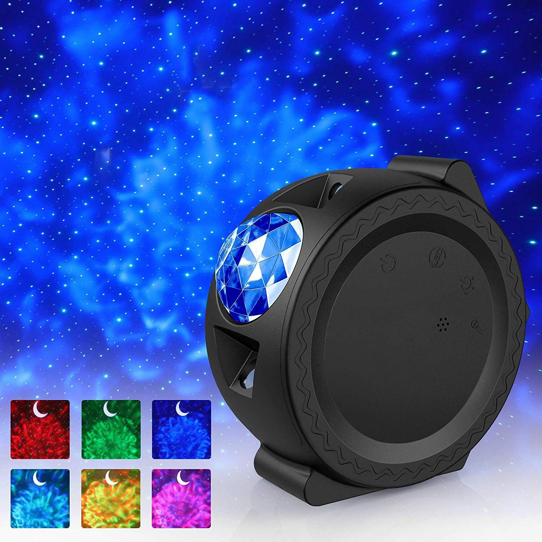 ¡Nuevo! Proyector de cielo estrellado, luz LED Nebula Cloud Night Light Ocean ondeando, lámpara nocturna de rotación de 360 grados, regalos para niños
