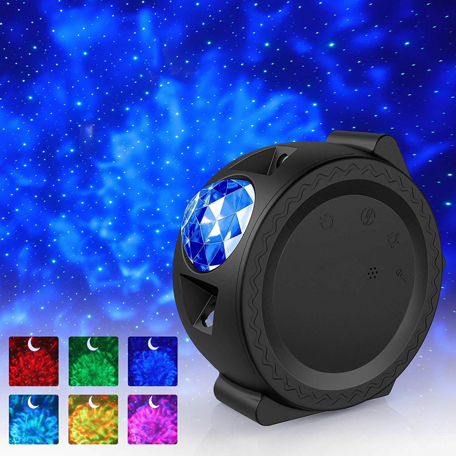 New Starry Sky Projector LED Nebula Cloud Night Light Ocean Waving Light 360 Degree Rotation Night Lighting Lamp For Kids Gifts