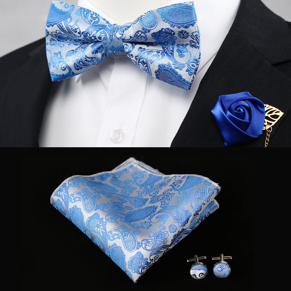 Silk Gifts For Men Bowtie Pocket Square Cashew Flowers And Handkerchief With Cufflink Box Set,Blue