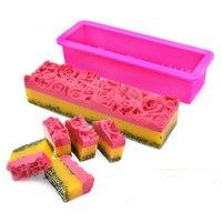 1Pcs Silikon Seife Mold Flexible Einfache Entfernung Rechteck Rose Blume Form Handgemachte Seifen, Der Werkzeug