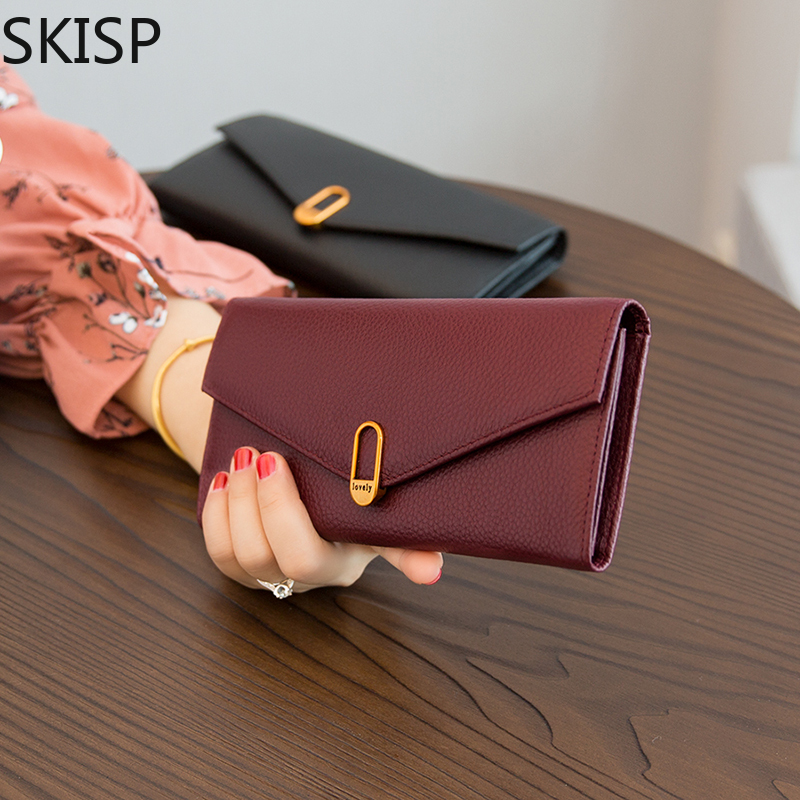 Women Genuine Leather Wallet Female Top Quality Long Wallet Woman Hasp Purse Strap Money Bag Purse For Phone Clutch Card Holder image