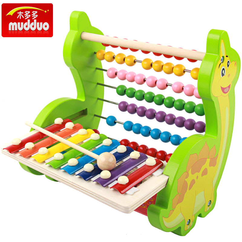 CHILDREN'S Wooden Toy Multi-functional Dinosaur Knock Piano Rosary Rack Baby Early Childhood Educational 8 Sound Toy Piano