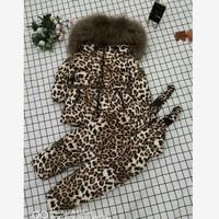 Winter Hooded Down Coat Children Snow Wear Warm Leopard Outerwear Real Fur Collar Parka Modis Kids Winter Down jackets Y1613