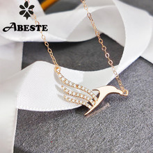 ANI 18K Solid Rose Gold Necklace Women Engagement Necklace Birthday Gift Gold Pendant Real Natural Diamond Proposal Necklace