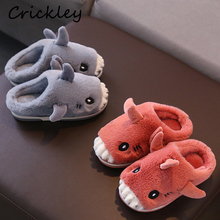 Children Unisex Winter Slippers Cartoon Cute Shark Modelling Indoor for Boys Keep Warm Fur Non Slip Home Girls