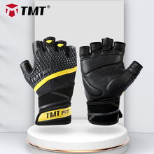 TMT Sheep Leather Gym Gloves Bodybuilding Weight Lifting Fitness Glove Nonslip Breathable Long Wrist Wrap Support Dumbbell Sport cheap Weight Lifting Glove w-66 Professional weightlifting gloves Non-slip wear Soft breathable elasticity fit your hand Wristband protects wrist