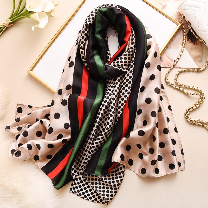 2020 Luxury Silk Women Scarf Fashion Polk Dot Print Shawls Wraps Lady Travel Pashmina Neck Warm Striped Spring Scarves