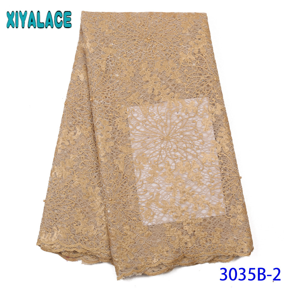 African Organza Lace Fabric 2019 High Quality Lace New Double Net Laces With Beads  Sequence Fabric Lace For Asoebi KS335B